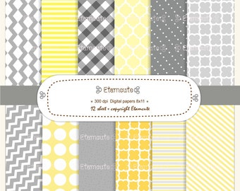 50%SALE, Colourful chevron and check pattern digital paper, yellow, grey E- 117
