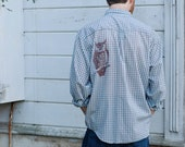 Large UpCycled L/S Owl Graphic Button Up