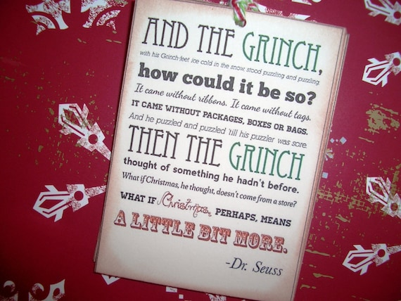 Grinch Poem  Christmas Tags -  Dr. Seuss - Meaning of Christmas - Wish Tree Tags - Sweet - Set of Six