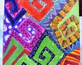 SALE Colorful Huipil Kapow Guatemalan Mayan Painting