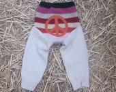 Striped 100% Wool Longie Peace Sign Size Medium