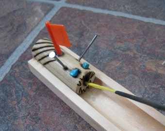 Caterpillar critter wooden incense burner made from pine and turquoise 3 of 3