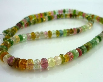 Beautiful multi colored tourmaline faceted rondelle beads 3-4.5mm 1/2 strand