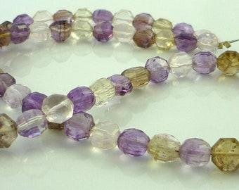 Multi gemstone faceted hexagon beads 6-7mm 1/2 strand