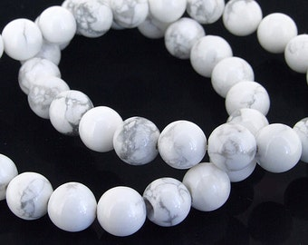 "Full pure White Turquoise Round Gemstone Beads 8mm  One Strand 15"""