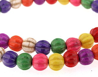 Carved Mixcolor pumpkin Melone Ball Turquoise Gemstone Beads 30Beads 14mm One Strand