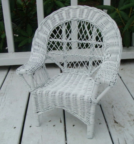 Vintage Large White Wicker Doll Chair