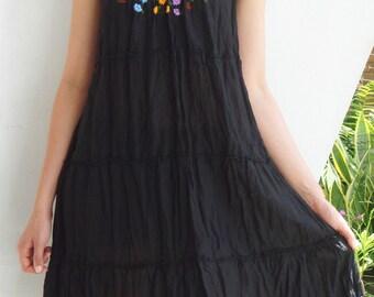 D4, Little Cute flower Garden Cotton Dress, black dress