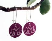 lotus flower dangle earrings - purple shrinky dink jewelry - lightweight plastic drop
