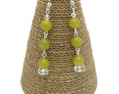 Green Earrings Lemon Jasper Gemstones with Swarovski Crystals.