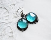 sale christmas gift sky blue glass dangle earring glass earrings - vertverre