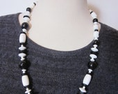 Vintage Black & White Geometric Costume Necklace