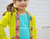 Girls Neon Florecent Yellow Sweatshirt Hoodie sweater with lace and flowers Picossoette Hoodie