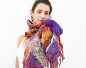 OOAK Nuno felted texture scarf multi way reversible  chunky fiber art purple rust orange modern rustic shabby chic christmas preview gif