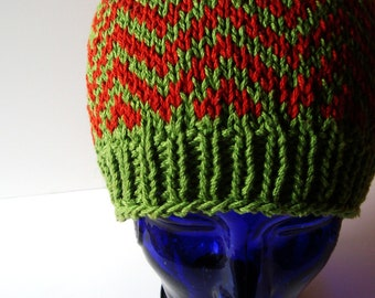 Fair Isle Zig-Zag Knit Beanie in Leaf Green and Rust Orange - OOAK Handmade