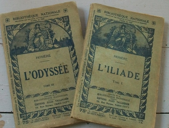 Pair of Antique French Paperbacks Classics Homer