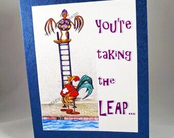 Bat Mitzvah Card Taking the Leap Congratulations Customizable Hand Assembled