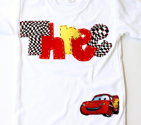 birthday shirt, 3, three, car, cars,  t shirt, checkered flag, red, yellow, boy white
