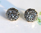 Charcoal Gray Round Iridescent Sparkle Bumpy Glitter Silver Scalloped Rhinestone Post Earrings - Holiday, Bridesmaids
