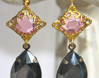 Vintage Black Diamond Gray Pear Shape Tear Drop Pink Rhinestone Brass Gold Filigree Bridal Wedding Dangle Earrings