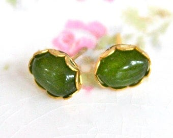Green Oval Moonstone Vintage Rhinestone Scalloped Lacy Brass Post Earrings- Bridesmaids, Wedding, Brida,