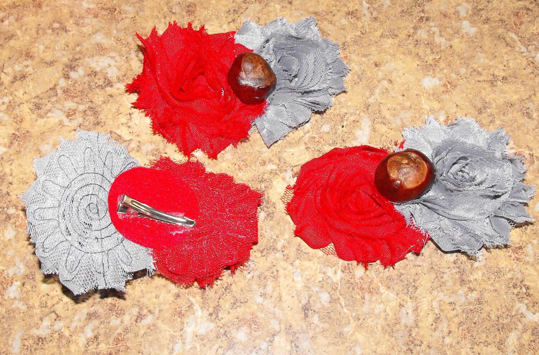 The Ohio State University OSU Buckeye Shabby flower by PBandJToys