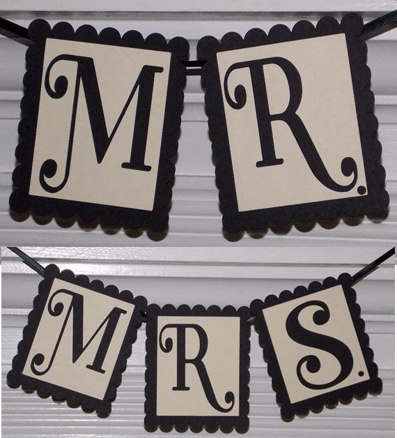 Mr. and Mrs. Banners ... Two Wedding Banners ... Chair Banners ... Black and Ivory ... READY TO SHIP  ... adjustable customize