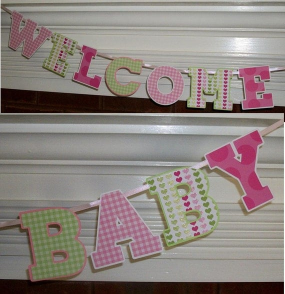 Welcome Baby Banner Letter Banner ... Pink Green  ... adjustable ... custom options available
