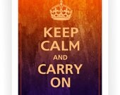 Keep Calm and CARRY ON Print 11x14 (Orange & Purple Watercolor featured)
