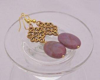 Agate Earrings, Indian Lace Agate Earring with Gold, Gemstone Earrings, Purple Earrings, Handmade jewelry