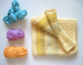 Yellow Cotton Scarf Handwoven titled 'Buttercups, Pollen, and Lemons'