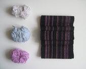 Black Organic Cotton Handwoven Scarf for Women - Winter Accessory Ultra Soft
