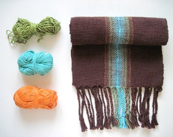 The 'Minerals in the Earth' Cotton Handwoven dark brown and turquoise scarf
