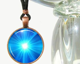 Chakra Necklace Blue Energy Art Reiki Jewelry Pendant Wearable Art
