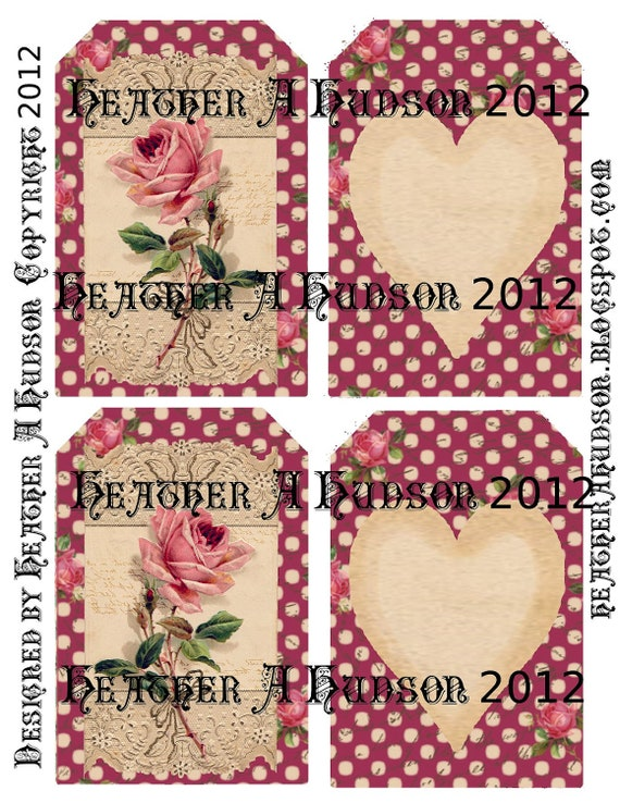 Shabby Vintage Burgundy Roses Digital Collage tags