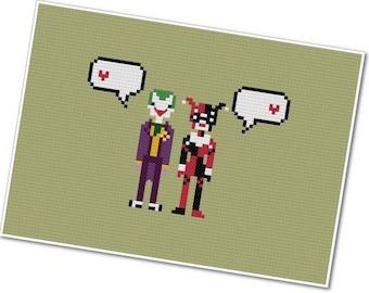 Joker & Harley - The *Original* Pixel People In Love - PDF Cross-stitch Pattern - INSTANT DOWNLOAD