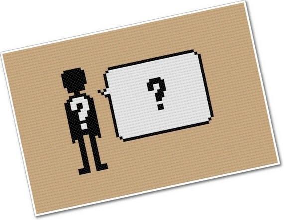 CUSTOM Pixel People Quoteable PDF Cross-stitch PATTERN