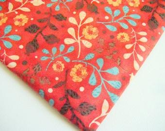 Mercer Street Fabric by Hoffman OOP Red Leafy Fabric