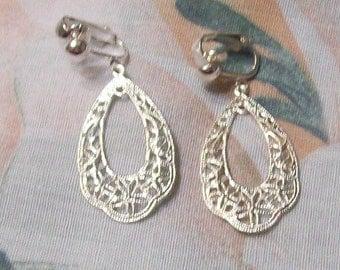 Lacey Filigree Silver Teardrop Clip On Earrings or Pierced