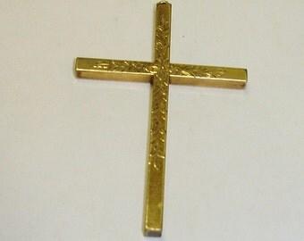Large Antique Victorian Gold Filled Floral Hand Engraved Cross Pendant