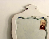 Antique Wood Framed Mirror - Vintage Ornate Wall Mirror with Wood Frame Shabby Chic White