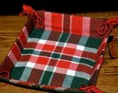 Christmas Cookie Basket, Bread Basket, Hand Woven Plaid Fabric Basket, Handwoven Basket, Christmas Gift Basket,  Woven Fabric Basket