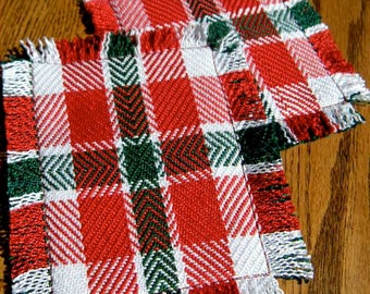Christmas Coasters, Hand Woven Coasters, Set of Two Handwoven Beverage Coasters, Red and Green, Mug Rugs, Beverage Coaster, Drink Coasters