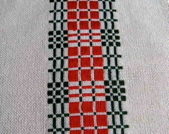 Christmas Buffet Table Runner, Red and Green, Handwoven Table Runner, Dresser Scarf, Holiday Decor, Swedish Runner, Table Linen, Handwoven