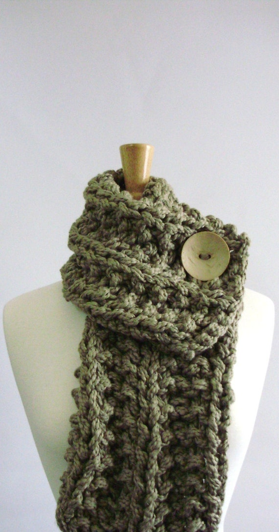 Khaki Brown Chunky Knit Cowl with Large White Button - 100% Organic Cotton