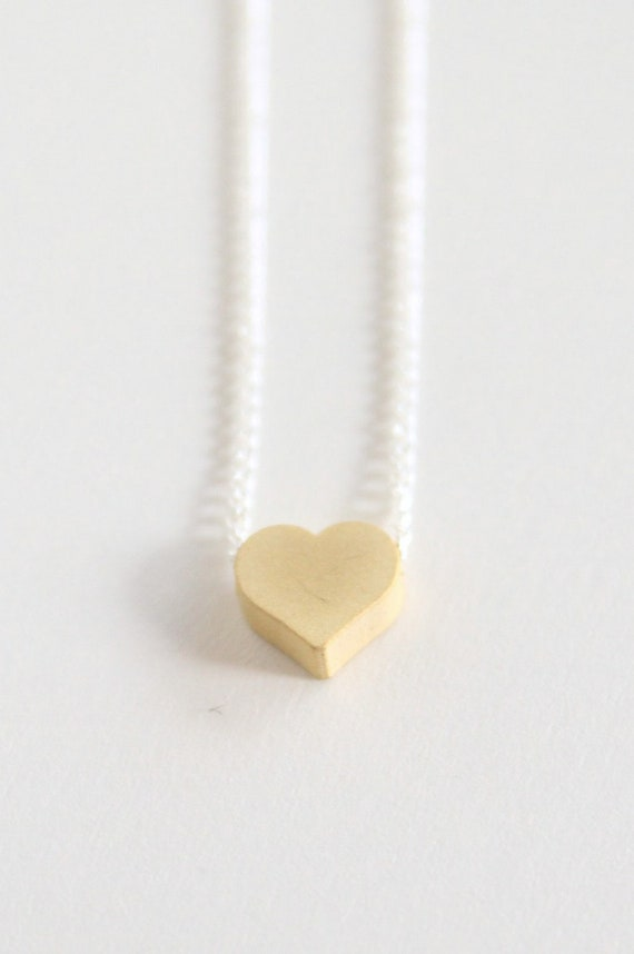 Gold heart necklace - 3d heart and sterling silver chain