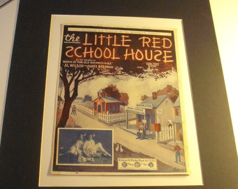 1922 Vintage Music Sheets,'The Little Red Schoolhouse'