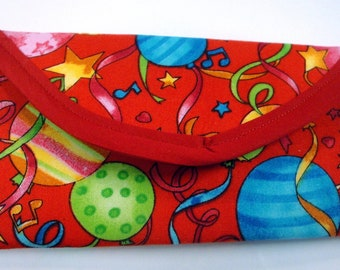 Celebration, Birthday Party, New Years Eve,  Fabric Wallet, Clutch, envelope, Bags & Purses 7x3 in.