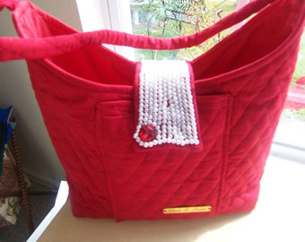 bag red quilted beaded beaded bag