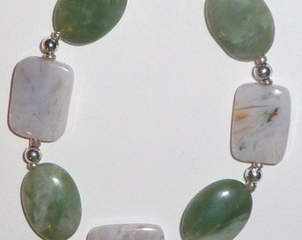 Green Stone Bracelet - Green and White - Green and Silver (clearance/originally 12.99)